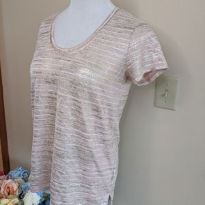 Gap Pink and Gold Shimmery Linen Blend Tee, Small